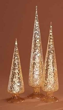 Gold Sequined Glitter Glass Christmas Table Top Cone Trees Pack of 3 by Roman