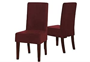 Solid Burgundy Soft Micro Suede Short Dining Chair Cover Slipcover