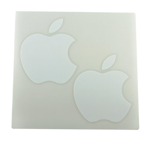 (2) Apple Logo Die Cut Vinyl Decal Sticker 4 White