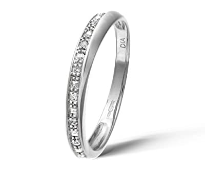 Ariel 9ct White Gold Diamond Pave Set Crossover Effect Half Eternity Ring