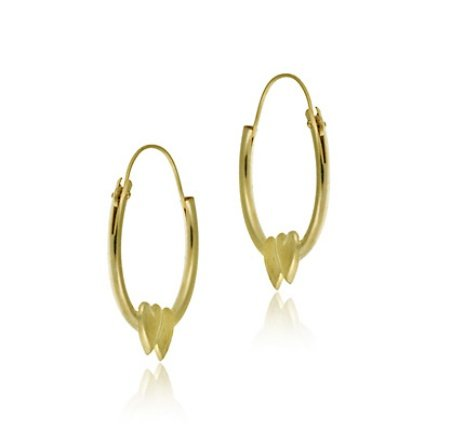 14k Gold 15mm Endless Heart Hoop Earrings