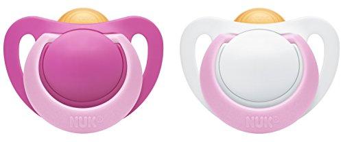 NUK 10171087 Genius Latex-Schnuller, kiefergerechte, Form, zahnfreundlich, Girl, BPA frei, 0-6 Monate, 2 Stück