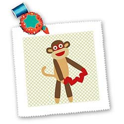 PS Fun Art - Cute Sock Monkey with Hearts - Animal Art - Quilt Squares
