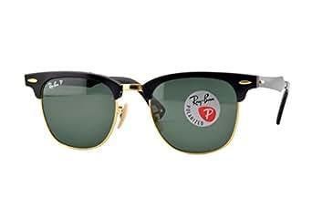Ray Ban Men's Rb3507 Aluminium Clubmaster Black Frame/Green Polarized Lens Metal Sunglasses, 49mm