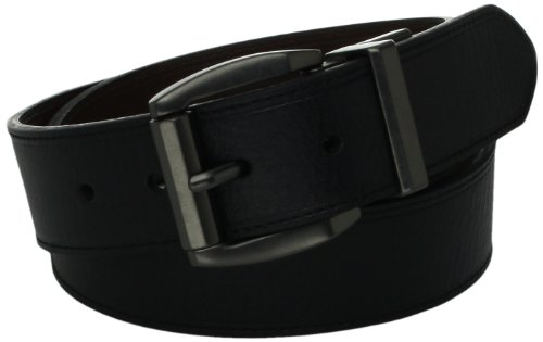 Levi's Men's Laminate Reversible Leather Belt, Black/Brown, 34