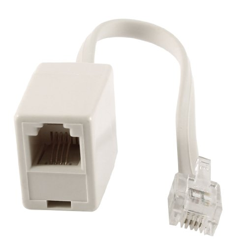RJ11 6P4C Male to Female Plug Telephone Adapter ADSL Splitter White picture