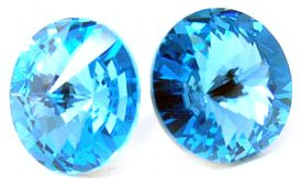 12 Mm Aquamarine Blue Colored Swarovski Crystal Elements Multi-Faceted Round Stud Earrings, Hypoallergenic Posts