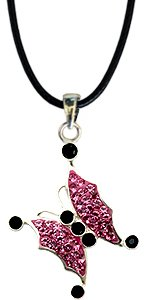 Silver Swarovski crystal Pendant by GlitZ JewelZ © - cute butterly design bling bling!! - made with over 40 Swarovski crystals - comes packed inside a lovely velvet pouch - Pink Sapphire