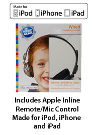 Kidz Gear Wired Headphones for APPLE PRODUCTS ONLY - Includes Inline Remote/Mic Audio Control