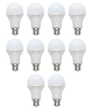 5W Virgin Plastic LED Bulb (White, Pack Of 10)