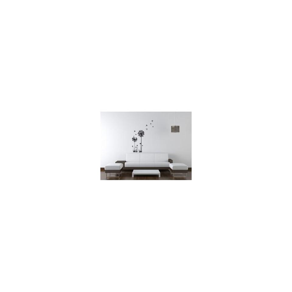 Flying Black Dandelion  Loft 520 Home Decor Vinyl Mural Art Wall Paper Stickers