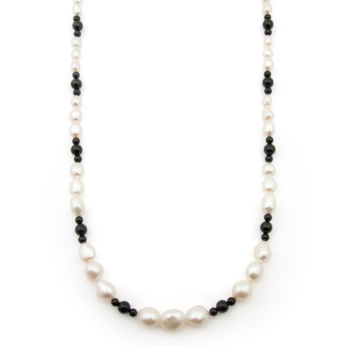 5-10mm, Graduated White Freshwater Baroque Pearl and Onyx Necklace in 14K Yellow Gold in Gift Box
