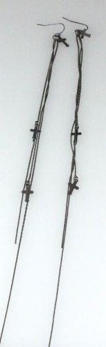 5030029 Long Chain Cross Earrings Christian Religious