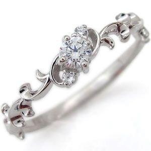 プレジュール プラチナ リング 一粒 ダイヤモンド リング 婚約指輪 エンゲージリングリングサイズ14号