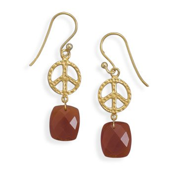 Sterling Silver 14 Karat Gold Plated Peace Sign Earrings with Carnelian