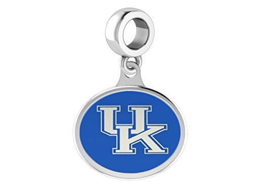 University of Kentucky Wildcats UK Sterling Silver Enamel Drop Charm Fits All European Style Beaded Charm Bracelets