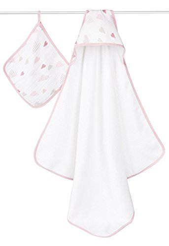 aden + anais Classic Hooded Towel and Washcloth Set, Heartbreaker