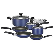 T-Fal Banquet Non-Stick 10 Cookware Piece Set Blueberry