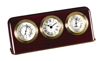 Desk Clock w Thermometer & Hygrometer in Mahogany Finish-Wood (Digital Hygrometer Beer compare prices)