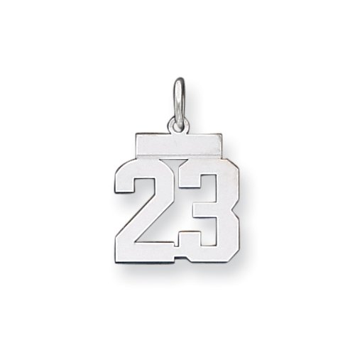 Sterling Silver Small Polished Number 13