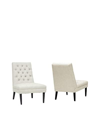 Baxton Studio Set of 2 Zinnia Accent Chairs, Beige