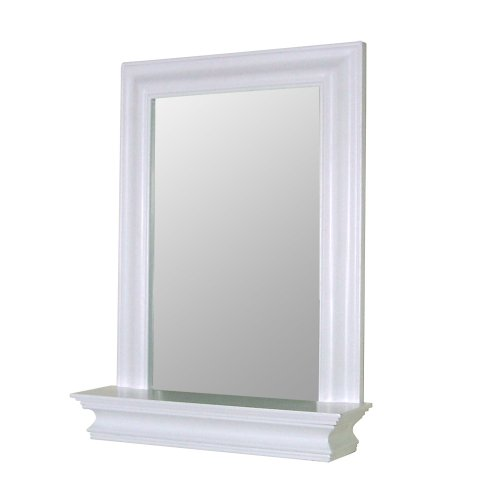 framed bathroom bedroom white wood mirror w edge shelf free shipping