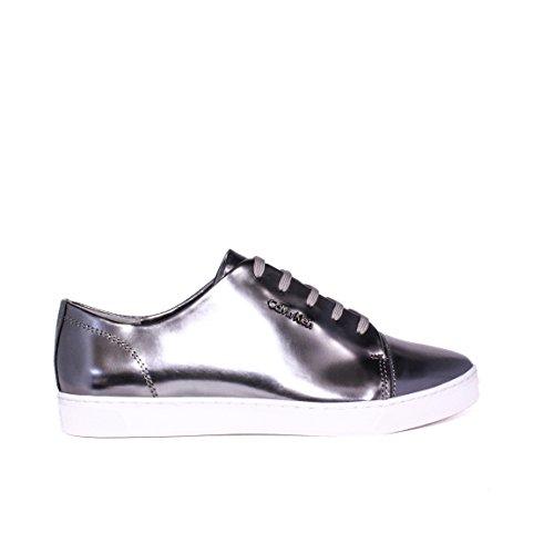 CALVIN KLEIN chaussure basse femme élégante HAMILTON METAL LACE ARGENT SNEAKERS N11887 SEL HIVER 2015-2016 MADE IN ITALY NOUVELLE COLLECTION 15/16 AW