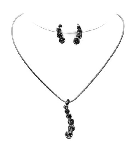 Sophisticated Crystal Ladder Necklace & Earring Set