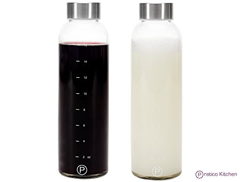 Pratico Kitchen 18oz Leak-Proof Glass Bottles, Juicing Containers, Water / Beverage Bottles - 2-Pack (Water Bottle Time Markings compare prices)