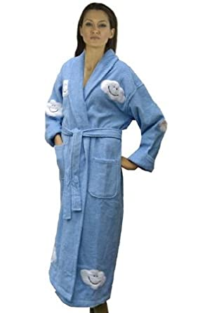 Cloud Appliqued Women's Cotton Terry Cloth Bathrobe, Long, Lt. Blue