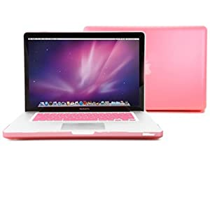 GMYLE Pink Rubberized See-Through Hard Shell Skin Case Cover for Apple 15-inch Aluminum Unibody Macbook Pro With Silicone Pink Protective Keyboard Cover from GMYLE