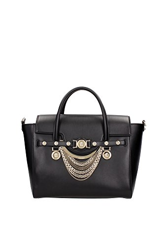 Borse a Mano Versace Donna Pelle Nero e Oro DBFD705DVCTND41OC Nero 15x25x33 cmEU