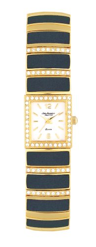 Jules Jurgensen Women's A172YB Black Enamel Crystal Accented Watch