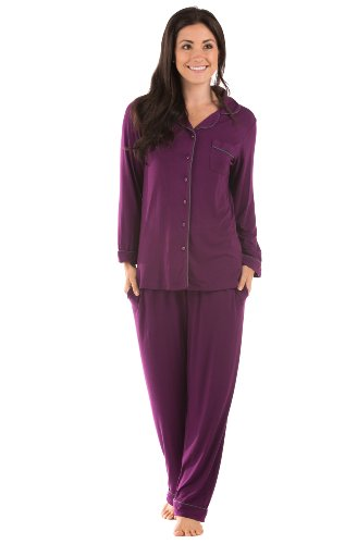 Womens Classic Pajamas Bamboo Jersey Nice Anniversary Gift Ideas Presents For Wife Wb0004-Con-M front-727588