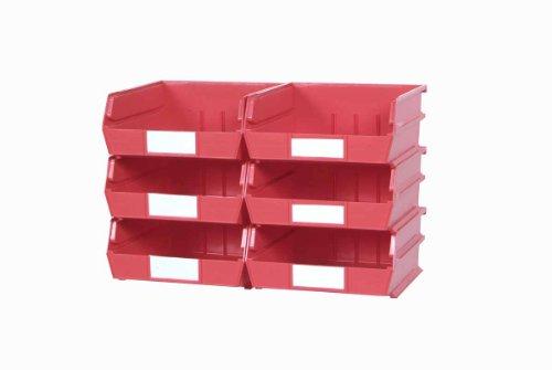 Triton Products 3-235RWS LocBin Wall Storage Bins/Rails, Large, Red