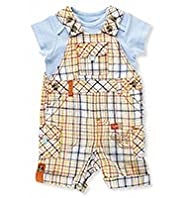 2 Piece Linen Blend T-Shirt & Checked Dungaree Outfit