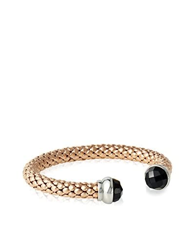Chloe by Liv Oliver 18K Rose Gold Mesh and Black Crystal Open Cuff Bangle