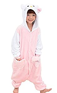 Us Top (Pink Kitty) Children's Halloween Costumes Kids Kigurumi Onesie Animal Cosplay