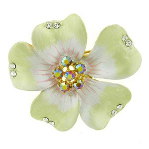 24k Gold-Plated Swarovski Crystal Enamel Plumeria Pin/ Brooch