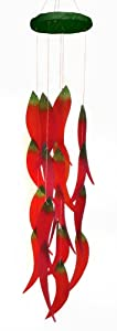 Blue Handworks Glass Wind Chime, Red Hot Chilies