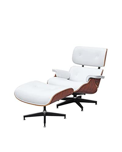 Manhattan Living Zita Lounge Chair With Ottoman, White