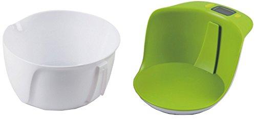 Pratique en plastique électroniques balance de cuisine electronique avec bol integrierbarer et lavables au lave vaisselle-couleur : blanc-vert-neuf & emballage d'origine.