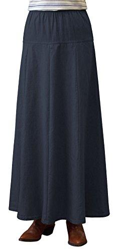 Womens Ultra Soft Lightweight Denim Fit and Flare A-Line Maxi Skirt - Blue Large Denim Maxi Skirt