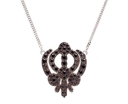 Sterling Silver Symbols of Hope & Protection Necklace Pendant Sikhism Black Cz & Sapphire