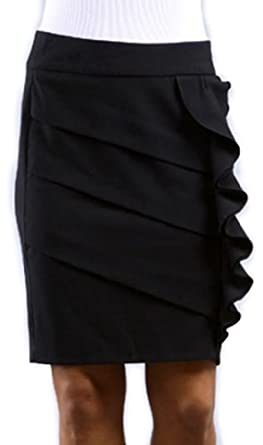 IMI-1765 Above the Knee Tiered Ruffle Skirt - Black / S