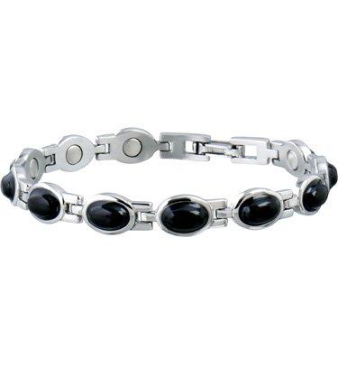 Sabona lds blk stone mag bracelet silver/black md