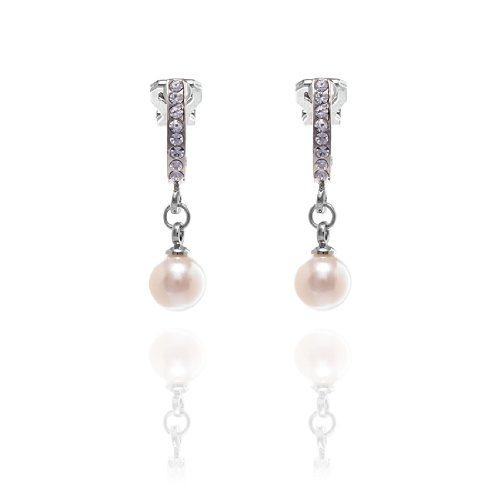 Rodney Holman Diamante Half Hoop Clip On Earrings with Drop Pearl