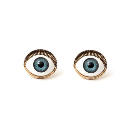 Occult Eye Ball Stud Earrings Blue Gold Vintage Mystic Gothic Evil Nazar Posts Fashion Jewelry