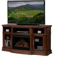 "Portobello 68"" Tv Stand With Electric Fireplace Insert Style: Logs, Finish: Walnut"