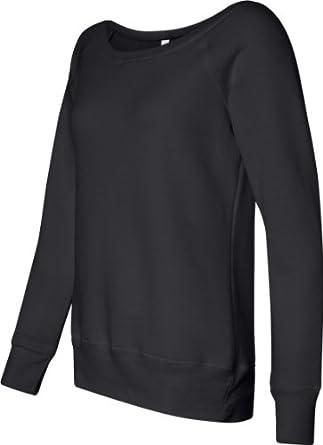 Bella Canvas Ladies' Sponge Fleece Wide Neck Sweatshirt - SOLID BLACK TRBLND - M